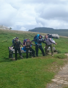 DofE Group in the Yorkshire Dales with Ingleborough in the background